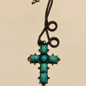 Jewelry - Silver and simulated Turquoise Cross  necklace